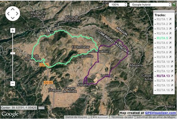 mapa rutas 5 y 13 BTT Cuevarruz