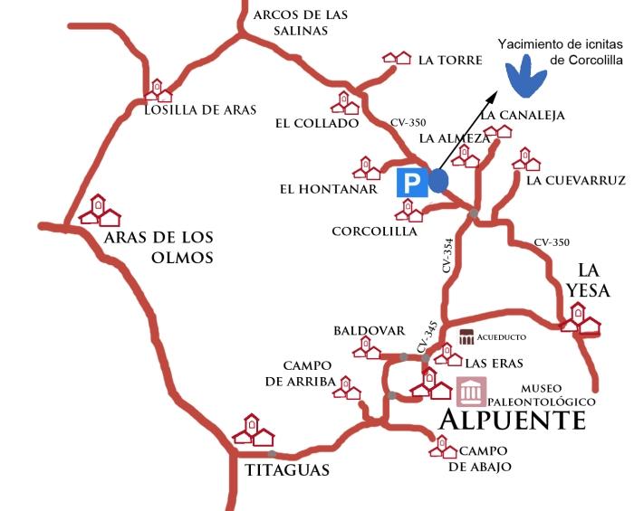 mapa aldea ICNITAS CORCOLILLA CON MUSEO y rotondas